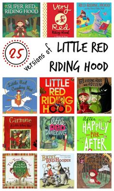 Red Riding Hood Books for Kids 25 Versions of Little Red Riding Hood~Includes the classic story, fun twists, the tale told from the wolf's point of view, and books for old. Red Riding Hood Book, Traditional Literature, Traditional Tales, Hood Books, Fractured Fairy Tales, Fairy Tales Unit, Fairy Tale Theme, Early Literacy, Book Activities