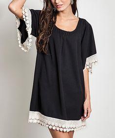Loving this Black Crochet-Trim Tunic on #zulily! #zulilyfinds