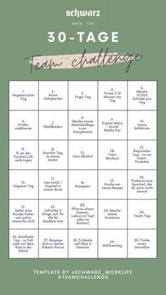 """Die Alpenresort Schwarz """"30-Tage Team challenge"""" stellt die Mitarbeiter vor 30 spannende Aufgaben die gemeinsam im Team zu meistern sind. Lasst euch inspirieren und startet auch in Eurem Team eine Team challenge! Die 30-Tage Team Challenge vom Alpenresort Schwarz steht kostenlos zum Download bereit. 30 Tag, Team Challenges, Stress, Yoga, Psychological Stress"""