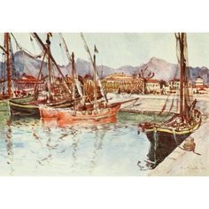 Florence & some Tuscan Cities 1905 Boats at Viareggio harbour Canvas Art - RC Goff (18 x 24)
