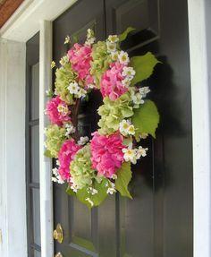 Pink Hydrangea Wreath Hydrangea Spring Wreath by elegantholidays, $115.00