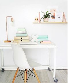 work space details | white + copper | open shelves | modern