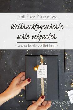 Individuelle und kreative Idee zum Geschenkverpacken. Kostenlose Vorlage zum Ausdrucken. Geschenke hübsch verpacken. Geschenke stilvoll verpacken. Freebie Etikett. Geschenkverpackung Weihnachten einfach selber machen. Gefunden auf www.detail-verliebt.de #