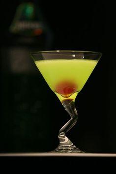 Japanese Slipper    25 ml Cointreau  25 ml Midori  25 ml fresh lemon juice  Shake. Pour into cocktail glass. Garnish with a maraschino cherry.    The Japanese Slipper Cocktail has light sour-sweet fruit taste.