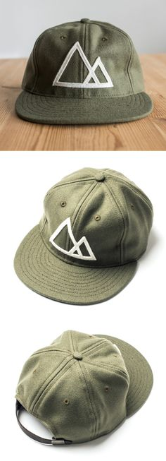 Mountains Hat (Olive) Vintage style baseball cap featuring the Ugmonk Mountains design. Each hat is handcrafted by Ebbets Field Flannels in Seattle, USA. Made from lightweight wool with an adjustable leather strap these hats are great for all-season wear. http://shop.ugmonk.com/products/mountains-baseball-cap-olive