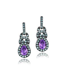 Amethyst & Blue Topaz Teardrop Earrings