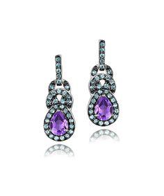 Amethyst & Blue Topaz Teardrop Earrings