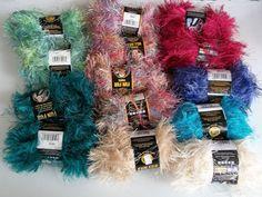 Fun Fur Yarn 14 Skeins Lion Brand Eyelash Color 700 Grams Raspberry Peacock + #LionBrand #Eyelash