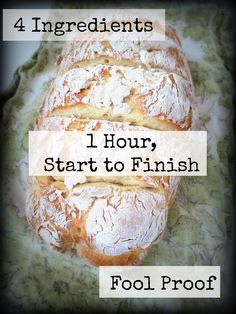 4 Ingredient French Bread- 1 Hour Start to Finish | Bread Recipes | Appetizer Recipes