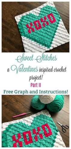 Welcome to part two of my Valentines crochet pillow series! This hugs and kisses design is extra sweet and works up quickly! Free graph and instructions included. #crochet #valentines #valentinesdaygift #valentinesday #cornertocorner #crochetlove #crochetpillow #valentinescrochet #crochetlove
