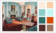 1929 Armstrong Linoleum - Turquoise Living Room-- loving this color palette lately Living Room Decor Orange And Brown, Living Room Turquoise, Turquoise Kitchen, Deco Turquoise, Orange And Turquoise, Room Colors, Paint Colors, Bedroom Colours, Orange Color Schemes