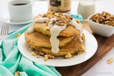 Vegan Carrot Cake Pancakes with Maple Cinnamon Cream Cheese Sauce.  No store-bought cream cheese required!