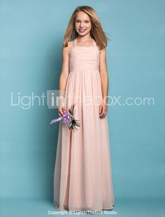 c0e18e030 [$71.99] Sheath / Column Halter Neck Floor Length Chiffon Junior Bridesmaid  Dress with Ruched by LAN TING BRIDE® / Spring / Summer / Fall / Apple / ...