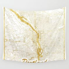 Portland Map Gold Wall Tapestry