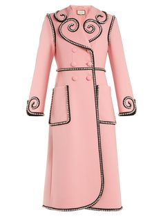 Gucci Crystal-embellished Double-breasted Wool Coat In Baby Pink Pink Wool Coat, Wool Coats, Pink Coats, Gucci Coat, Gucci Gucci, Gucci Dress, Mode Rose, Double Breasted Coat, Winter Chic