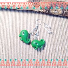 Pascal Earrings ~ Cute Kawaii Earrings Polymer Clay Fimo Disney Rapunzel Fan Art Chameleon Chibi