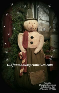 Arnett's Primitive Hanging Snowman in Green Sac(Made in USA)