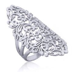 Handcrafted silver ring 925 sterling Lace-like Filigree design 6us 7us 8us 9us