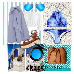 """Praise the blue"" by calypso08 ❤ liked on Polyvore featuring Christian Lacroix, Sans Souci, Lisa Marie Fernandez, Stuart Weitzman, Ray-Ban, ECCO, MAC Cosmetics, Packandgo and greekislands"