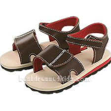 Keep him looking great in these summer sandals from Baby Deer.  .  .     brown sandals .     hook & look strap at ankle & vamp .     foamy cushioned soles .  . Baby Deer uses their personalized shoe sizes--click here to view conversion chart.