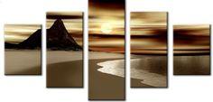 Aliexpress.com: Compre 5027 handmade 5 peça pintura a óleo sobre tela arte da parede paisagem do por do sol imagem da praia para sala principal de confiança pinturas a óleo dos galos fornecedores em Art of Fire