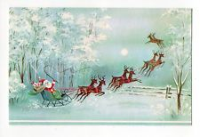 Vintage Quality Crest Glitter Christmas Card Santa Reindeers Out in The Country
