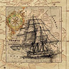 Image gratuite sur Pixabay - Navire, Carte, Navigation, Vintage
