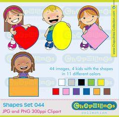 60% desc. Clipart digital Niños y formas geométricas Set 044 Corazón, Óvalo, Rombo y Rectángulo, clipart escuela, ilustraciones de niños