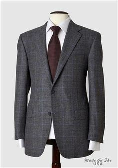 Mahogany Collection Grey with Blue Windowpane Sportcoat