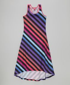 Take a look at the Purple Diagonal Stripe Racerback Maxi Dress - Toddler & Girls on #zulily today!
