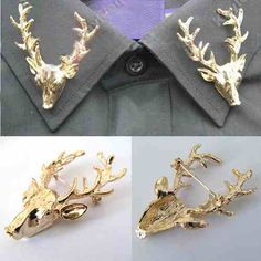 Deer Collar tips Collar Tips, Horns, Baby Items, Winter Fashion, Punk, Brooch, My Style, Stuff To Buy, Deer