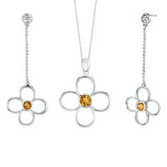 2.25 carats Round Shape Citrine Pendant Earrings Set in Sterling Silver Rhodium Finish . $51.99