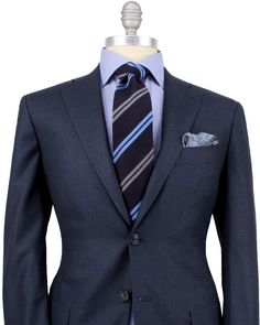 Kiton Blue with Blue Windowpane Suit