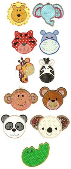 Cute Animal Faces Applique Set 2