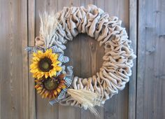 Burlap and sunflower wreath by willowbloomwreaths