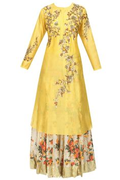 Joy Mitra presents Yellow floral embroidered kalidaar kurta and off white printed skirt set available only at Pernia's Pop Up Shop. Designer Party Wear Dresses, Indian Designer Outfits, Indian Outfits, Simple Lehenga, Kurta Designs Women, Modern Vintage Fashion, Traditional Fashion, Fashion Line, Elegant Outfit