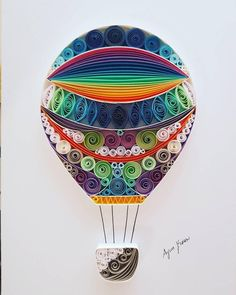 Quilled Paper Art: Flying balloon-Unique gift for Anniversary, Engagement/Wedding gift, Best Friend Gift, Christmas Gift Paper Quilling Cards, Paper Quilling Patterns, Quilled Paper Art, Quilling Paper Craft, Paper Beads, Paper Crafts, Hot Air Balloon Cartoon, Quiling Paper, Flying Balloon