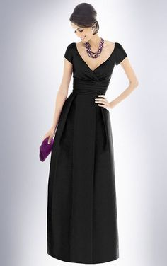 V-neck Floor-length A-line Zipper Taffeta Bridesmaid Dresses