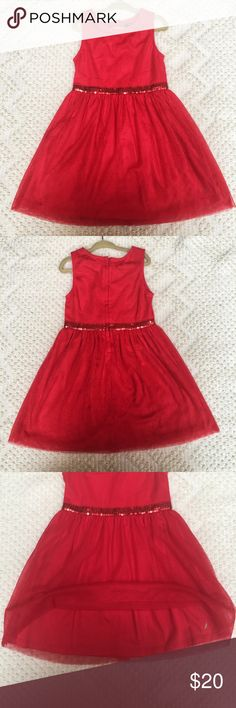 Nautica Red Sequin Detail Dress Beautiful sleeveless, red lace dress with sequin waist detail and zipper in back from Nautica.   A great dress for any special occasion and in excellent condition! Nautica Dresses