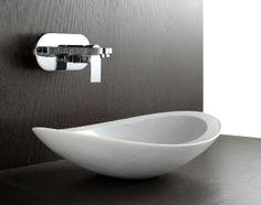 Nero - Above Counter Designer White Marble Natural Stone Basin By Nova Deko