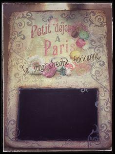 Lavagna# ricavata da una tavoletta# Sonia Gorlani # decoupage