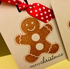 Gingerbread Man Holiday Gift Tags  Cookie by PinkOwlDesigns, $3.00