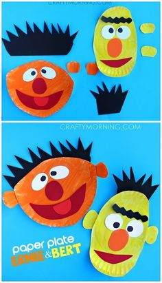 Ernie and Bert Paper Plate Crafts for Kids (Sesame Street art projects) | http://CraftyMorning.com