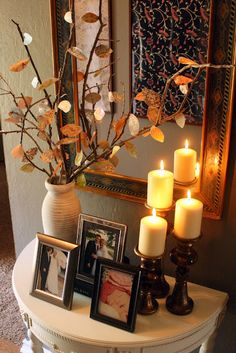 Cardstock paper leaves.  I like the idea of using old book pages....and NOT having candles directly under the branches.