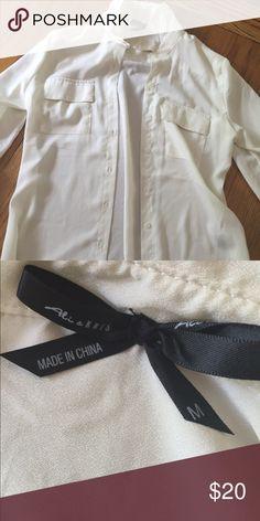 White semi sheer button down top. White button down semi sheer shirt. Size M Tops Button Down Shirts