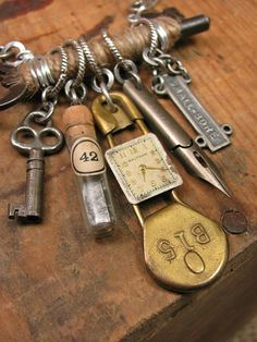 Upcycled Jewelry - Jute Wrapped Skeleton Key with Refound Objects Necklace Assemblage - Watch Parts, Pen Nib, Brass Laundry Pin