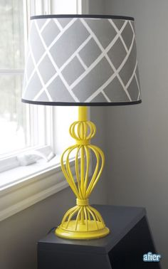 Love the gray and yellow lamp, bottle of spray paint could transform any wire lamp.