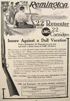 1910's Remington Rifle Ad ~ .22 Repeater, Vintage Gun, Rifle ...