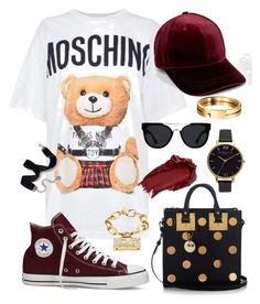 """Moschino #4"" by omg-imafashionista on Polyvore featuring Moschino, Sophie Hulme, Olivia Burton, Urban Decay, Quay, Converse and Sweet Romance"
