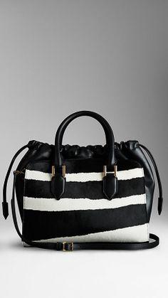 Striped Animal Print Calfskin Bag | Burberry